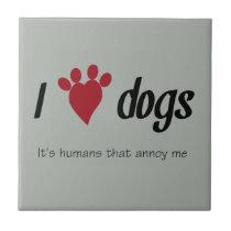 I Heart Dogs Ceramic Tile