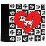 I Heart Dogs - Dalmatian Black ,Red, White Binder