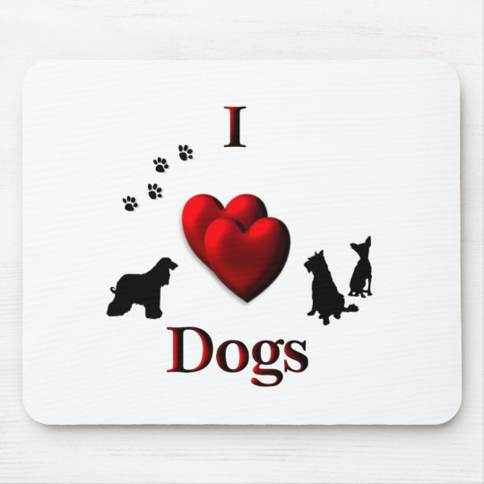 I Heart Dogs Mouse Pad