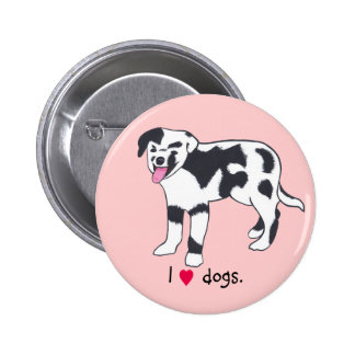 I heart dogs, Spotted Black and White Dog Buttons