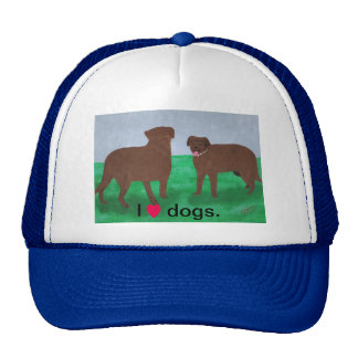 I heart dogs, two brown dogs custom hat