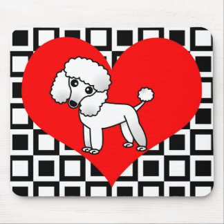 I Heart Dogs - White Poodle Mouse Pad