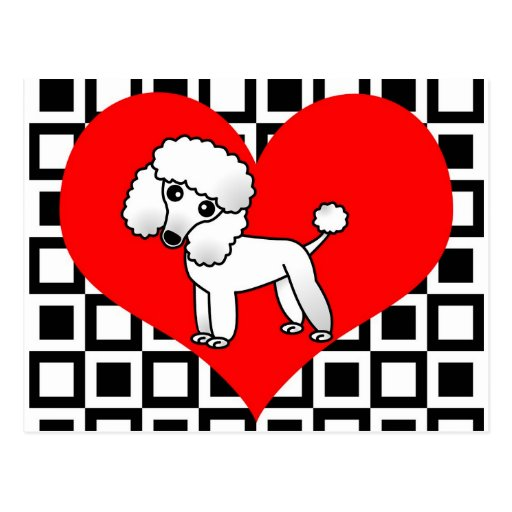 I Heart Dogs - White Poodle Postcards