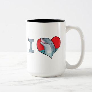 I heart dolphins Two-Tone coffee mug
