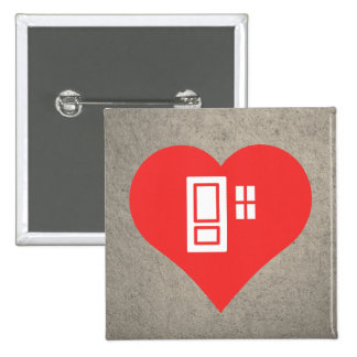 I Heart Doors 2 Inch Square Button