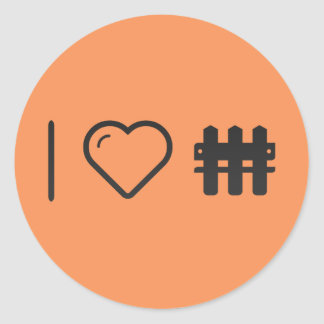 I Heart Double Fences Classic Round Sticker