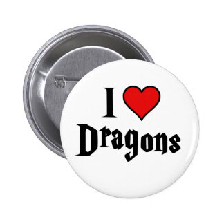 I heart dragons pinback button