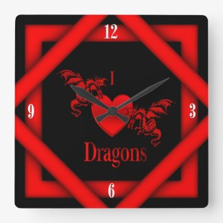 I Heart Dragons w Four White Numbers Clock