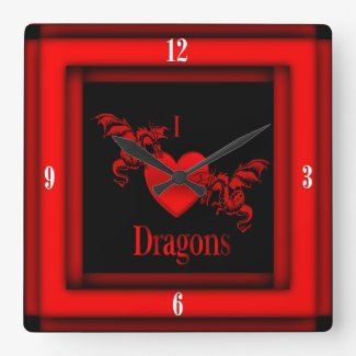 I Heart Dragons w Four White Numbers Red Square Wall Clocks