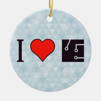 I Heart Drawing Schematics Ceramic Ornament