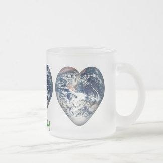 I Heart Earth (I ♥ Earth) Frosted Glass Coffee Mug