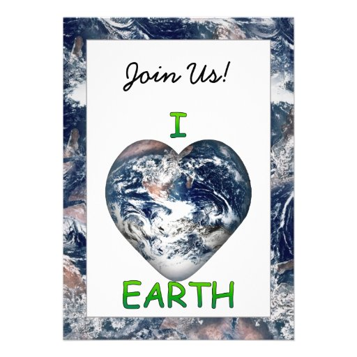 I Heart Earth (I ♥ Earth) With Earth Trimming Personalized Invitation