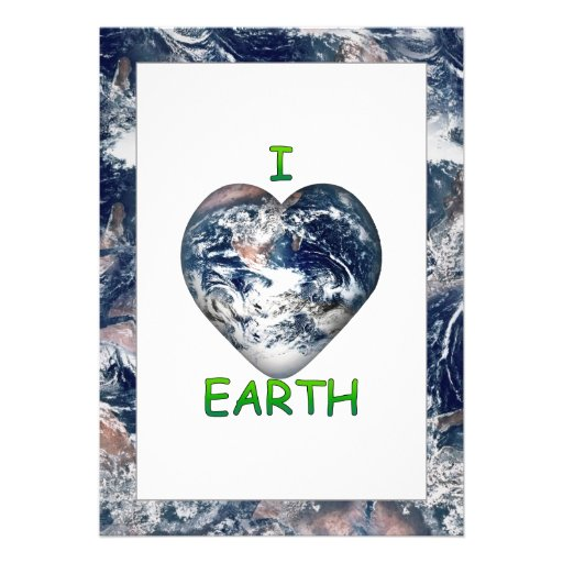 I Heart Earth (I ♥ Earth) With Earth Trimming Custom Announcements