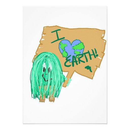 I heart earth personalized invitations