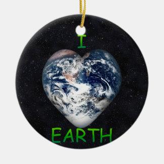 I Heart Earth (Universe Background) Ceramic Ornament