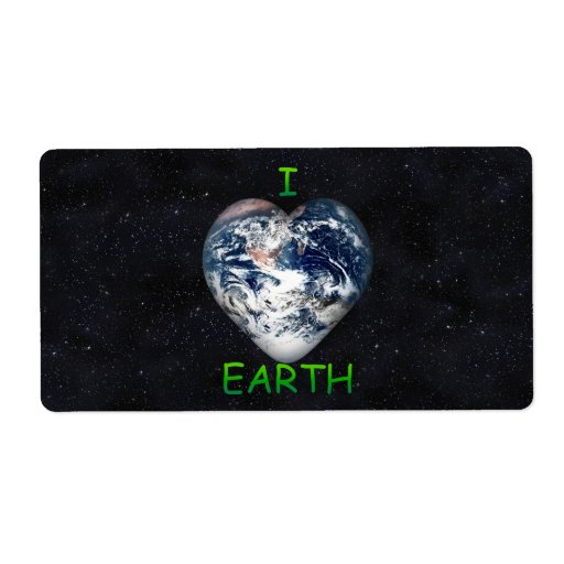 I Heart Earth (Universe Background) Personalized Shipping Labels