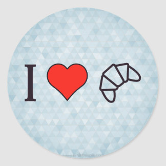 I Heart Eating Croissant Classic Round Sticker