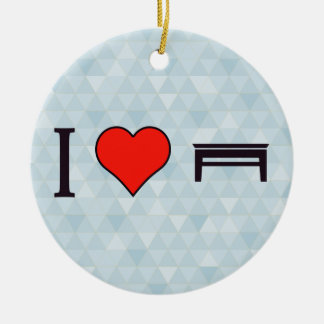 I Heart Eating On The Table Double-Sided Ceramic Round Christmas Ornament