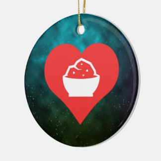 I Heart Eating Double-Sided Ceramic Round Christmas Ornament