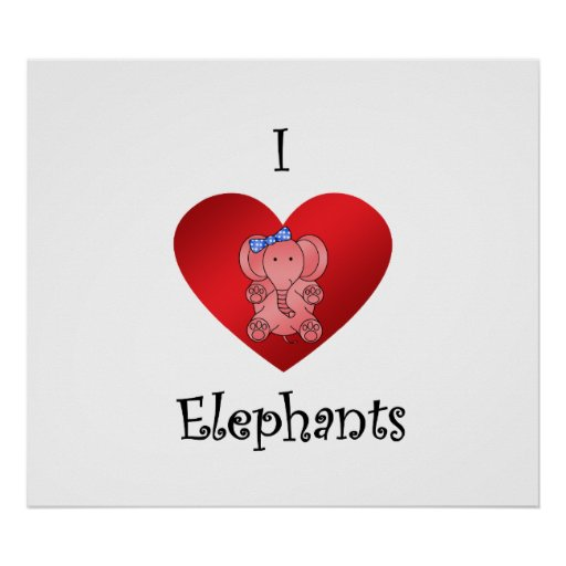 I heart elephants in red and blue poster