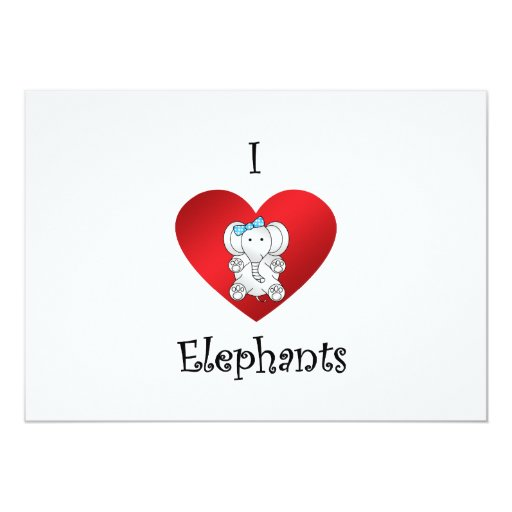 I heart elephants in white and blue 5x7 paper invitation card