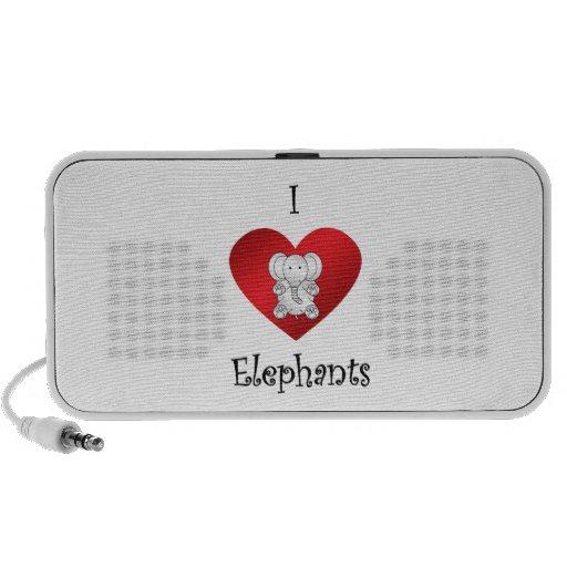 I heart elephants in white mini speakers