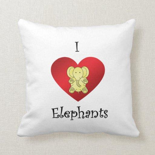 I heart elephants in yellow throw pillows