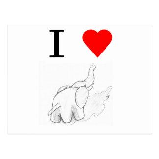 I heart elephants post card