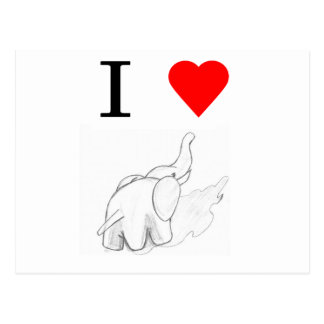 I heart elephants postcard