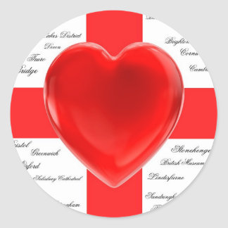 I Heart England Flag of St George Patriotic Stickers