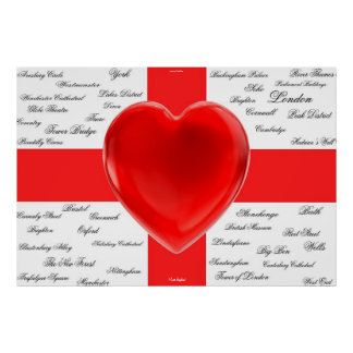 I Heart England Flag of St George Poster