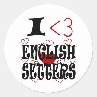 I Heart English Setters Classic Round Sticker