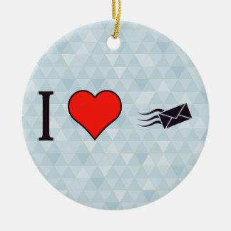I Heart Envelopes Ceramic Ornament