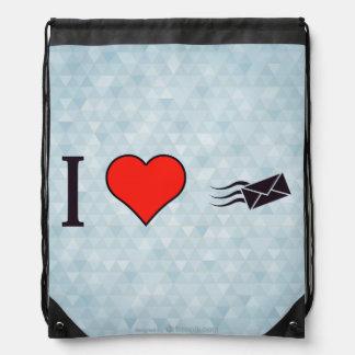 I Heart Envelopes Drawstring Backpack