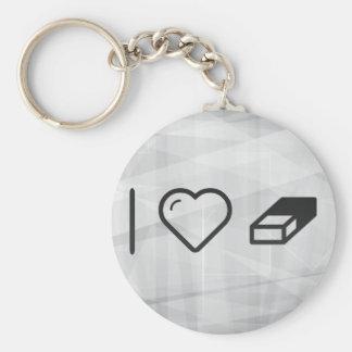 I Heart Erasers Basic Round Button Keychain