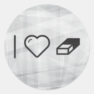 I Heart Erasers Classic Round Sticker
