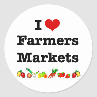 I Heart Farmers Markets Classic Round Sticker