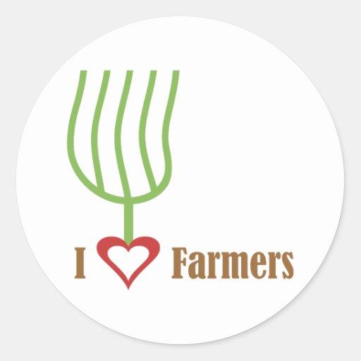 I Heart Farmers Round Sticker