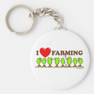 I Heart Farming Basic Round Button Keychain