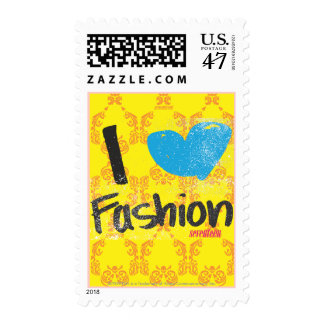 I Heart Fashion Aqua Postage Stamp