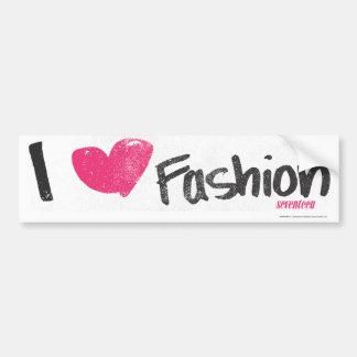 I Heart Fashion Magenta Car Bumper Sticker