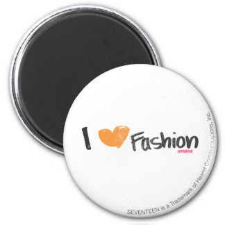 I Heart Fashion Orange 2 Inch Round Magnet