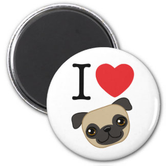 I Heart Fawn Pugs 2 Inch Round Magnet