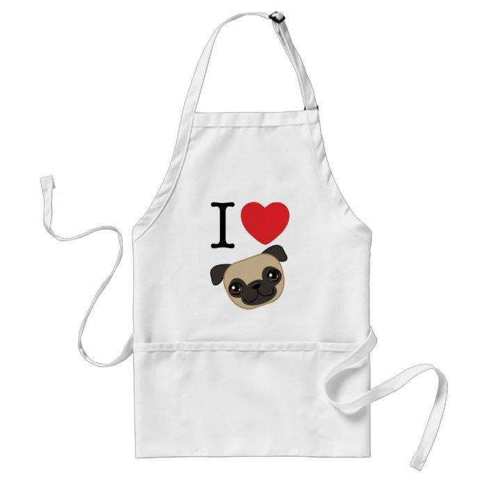 I Heart Fawn Pugs Adult Apron