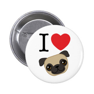 I Heart Fawn Pugs Pinback Buttons