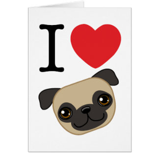 I Heart Fawn Pugs Cards