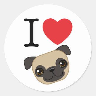 I Heart Fawn Pugs Classic Round Sticker
