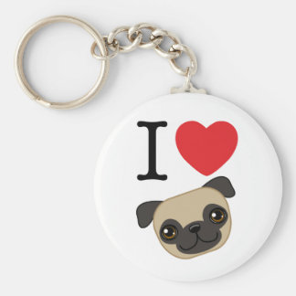 I Heart Fawn Pugs Basic Round Button Keychain