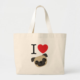 I Heart Fawn Pugs Large Tote Bag