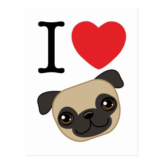 I Heart Fawn Pugs Postcard